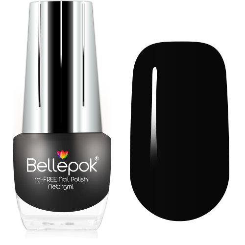 Bellepok 10-FREE Nail Polish - Black Velvet | Non-Toxic Black Nail Varnish