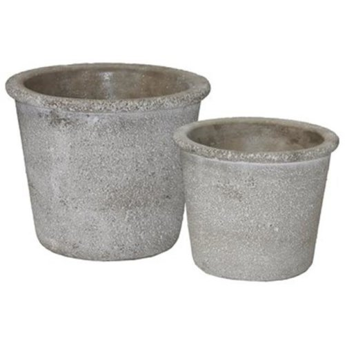 Urban Trends Collection 51113 Cement Round Flower Pot with Wide Mouth, Gray - Set of 2