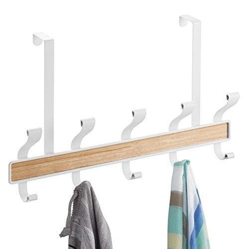 mDesign Over the Door Coat Rack- Space Saving Coat Hooks - Free-hanging Coat Rail with Five Double Hooks - White/Light Wood Finish