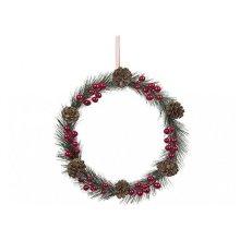 26cm Red Pine And Berry Wreath - Door Flowers Christmas Decorations -  26cm door wreath red flowers berry christmas decorations