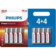8 x Philips AA Power Alkaline LR6 Long Lasting Batteries