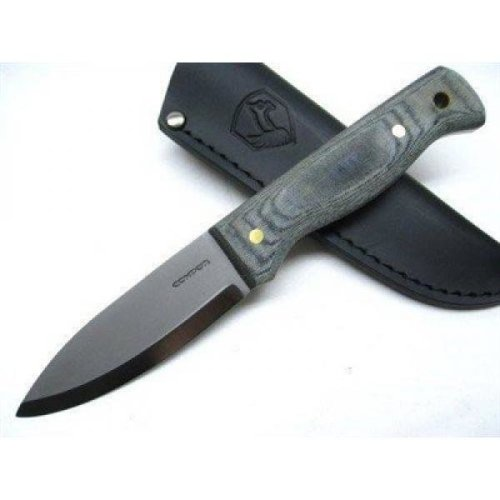 "Condor Bushlore Camp Knife 4-5/16"" Carbon Steel Satin Blade, Micarta Handle, Black Leather Sheath"