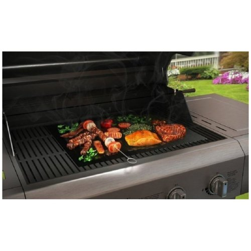 Vinsani 5PC Non-Stick BBQ Grill Mat (40 x 33 cm) - Resuable and Dishwasher Safe Cooking Mats - Black