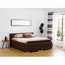 Super King Size Divan Bed Faux Leather Brown PRESIDENT