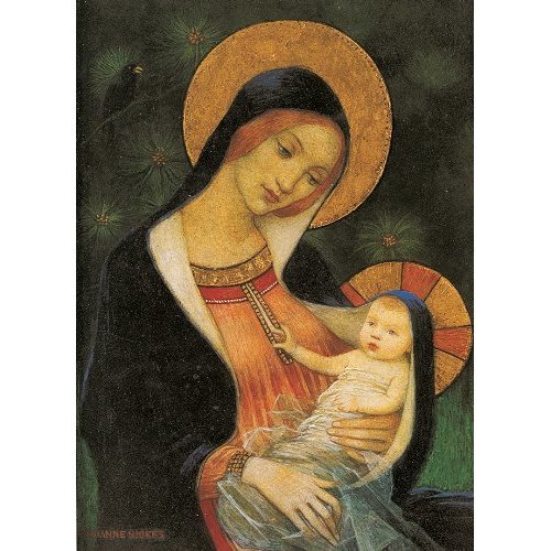 Museums and Galleries Marketing. Christmas Classics 17.8 x 12.7cm Madonna of the Fir Tree Charity Designed Christmas Card with Envelope (Pack of 8)