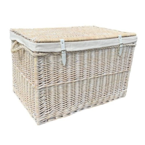 Large White Wash Storage Hamper with White Lining Wicker Basket