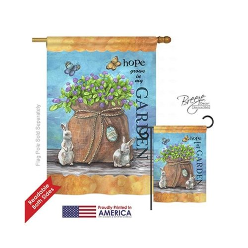 Breeze Decor 00066 Welcome Hope Grows 2-Sided Vertical Impression House Flag - 28 x 40 in.