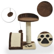 PawHut Cat Tree & Activity Centre | Sisal Dark Brown Cat Scratching Post