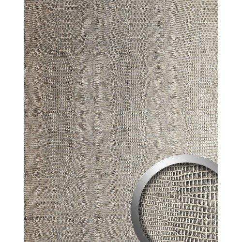 WallFace 12893 LEGUAN Wall panel leathert leather wallcovering silver | 2.60 sqm