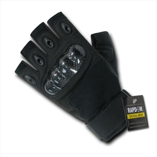 RapDom T42-PL-BLK-03 Half Finger Knuckle Glove - Black, Large