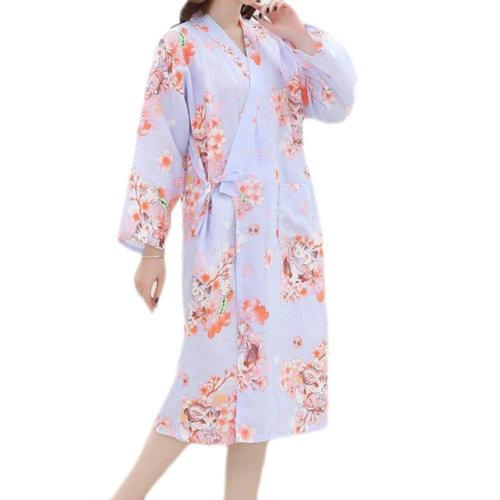 Japanese Style Women Thin Cotton Bathrobe Pajamas Kimono Skirt Gown-A06