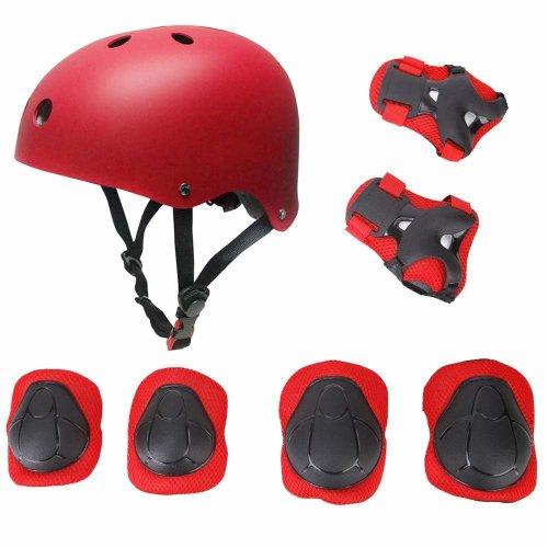 Kid's Protective Gear Set,Roller Skating Skateboard BMX Scooter Cycling Protective Gear Pads (Knee Pads+Elbow Pads+wrist Pads+ Helmet)- Red