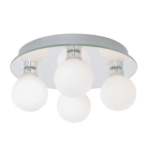Searchlight Globe 4 Lights LED Opal Glass Flush Bathroom Kitchen Ceiling Light