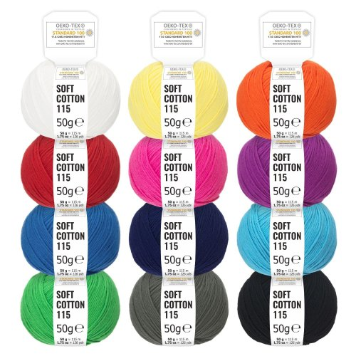 100% Cotton Mixed Colours - 600g (12 x 50g) - Oeko Tex Standard 100 certified wool for knitting and crochet - cotton yarn set in 12 colours by...