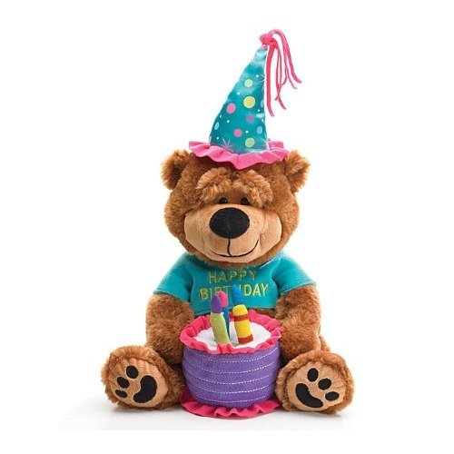 "Adorable Happy Birthday Teddy Bear With Cake That Plays ""Happy Birthday To You"" Great Gift Item"