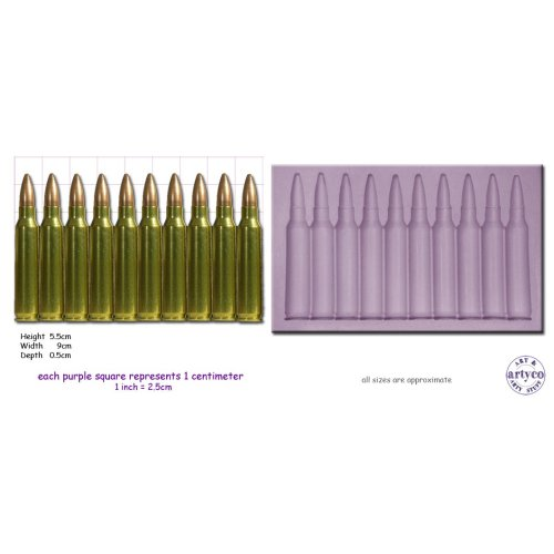 GUN BULLET BORDER Craft Sugarcraft Wax Resin Soap Sculpey Silicone mold