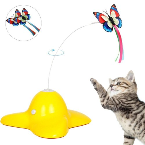 Tacobear Electric Rotating Butterfly Cat Toys with Two Replacement Flashing Butterflies Interactive Cat Toy Spinning Cat Teaser Toy