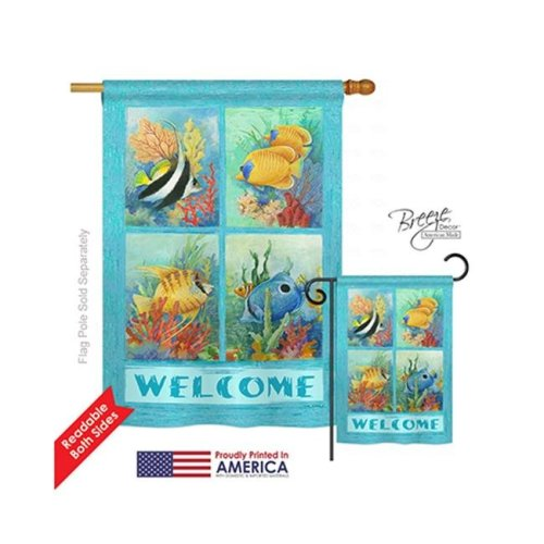 Breeze Decor 07051 Beach & Nautical Tropical Fish Collage 2-Sided Vertical Impression House Flag - 28 x 40 in.