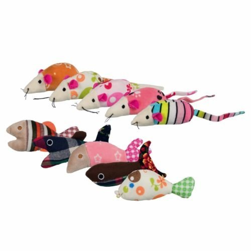 42 Pcs. Mice And Fish, Plush/fabric, 9–12cm - Colourful Plush Fabric Catnip -  colourful plush fabric catnip fish mice kitten toy 9 12 cm each