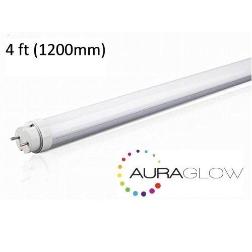 Auraglow Energy Saving 18w 4ft 1200mm Cool White, 6500k, 1800lm, T8 Fluorescent LED Tube Light, 36w EQV - Twin Pack