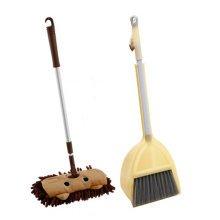 Children Housekeeping TOY Cleaning Play Set-Children Broom Dustpan Mop Suit, Yellow&Brown