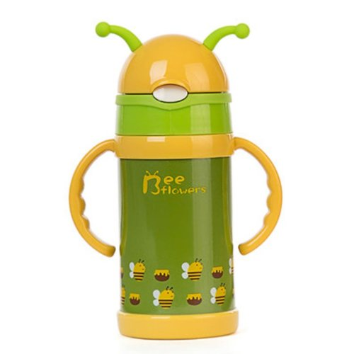 Bee Flowers Vacuum Insulated Stainless Steel Sippy Cup with Handle, 9 oz, Green