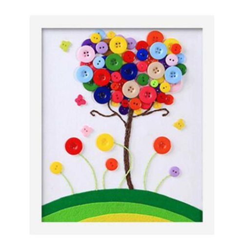 Colourful Tree DIY Button Painting Mosaic Craft for Kids