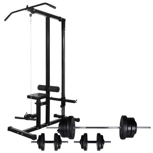 vidaXL Power Tower with Barbell and Dumbbell Set 60.5kg Pull-up Dip Station