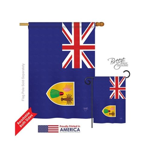 Breeze Decor 08335 Turks & Caicos 2-Sided Vertical Impression House Flag - 28 x 40 in.