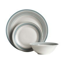 12Pc Blue Band Stripe Dinner Set, Porcelain