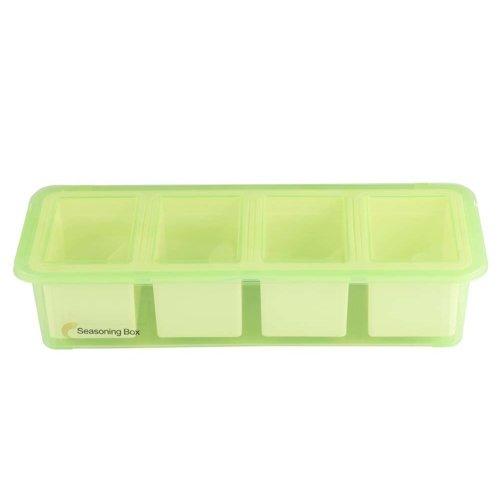 Simple Practical Plastic Condiment Pots Seasoning Salt Pepper Spice Box, Glass Green