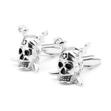 Pirate Skull and Crossbones Silver Cuff Links Pirates Mens Cufflinks