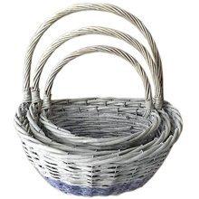 Hill Interiors Wicker Semi-circle Baskets (set Of 3) (natural Wood) -