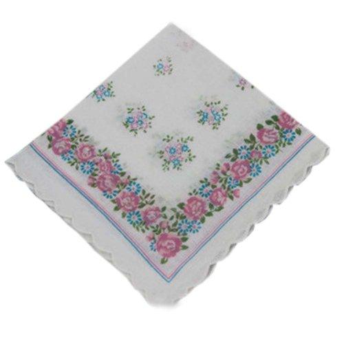 3 Pcs Retro Floral Print Handkerchiefs Ladies Cotton Pocket Handkerchief, #16