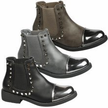 Ciara Womens Low Heel Studded Chelsea Ankle Boots