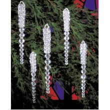 """Holiday Beaded Ornament Kit-Sparkling Icicles 3.75"""" Makes 30"""