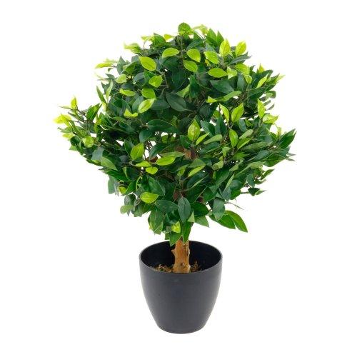 Artificial Medium 65cm Ficus Ball Plant Realistic Tree with Black Pot