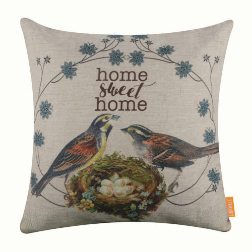"""18""""x18"""" Vintage Bird Home Sweet Home Burlap Pillow Cover Cushion Cover"""