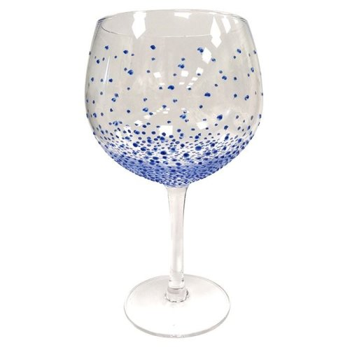 Sunny by Sue Hand Painted Gin & Tonic Copa Glass - Dotty Blue