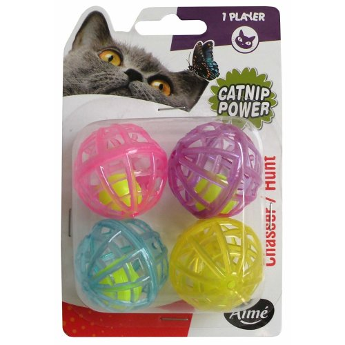 Aime Bell Ball Cat Toys - Pack of 4
