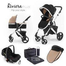 Tutti Bambini Riviera Plus 3 in 1 Silver Travel System - Black / Taupe