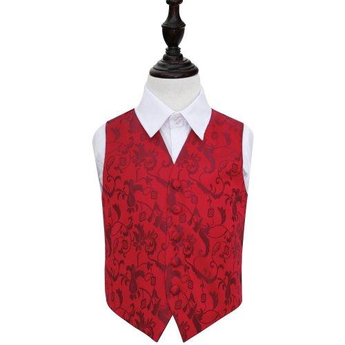 Burgundy Floral Wedding Waistcoat for Boys 26'