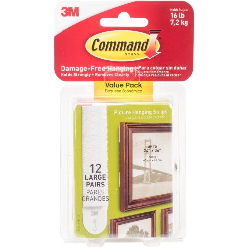 Command Large Picture Hanging Strips-White 12 Sets/Pkg