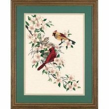 D01516 - Dimensions Crewel Embroidery - Cardinals in Dogwood