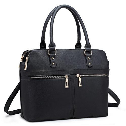 Miss Lulu Women Leather Handbag Laptop Shoulder Bag Tote Black