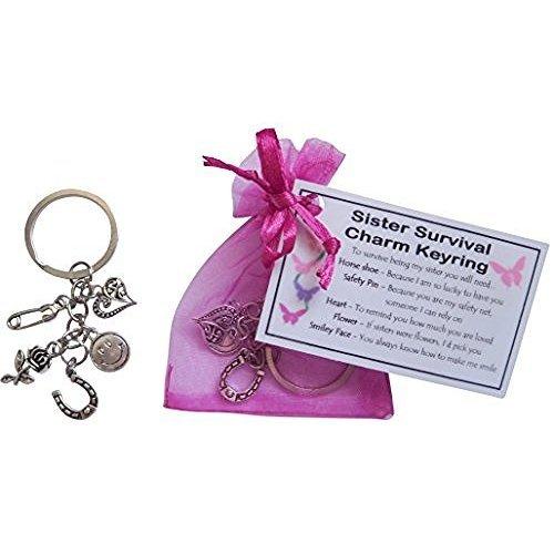 Sister Survival Charm Keyring   Keepsake Gift For Sister