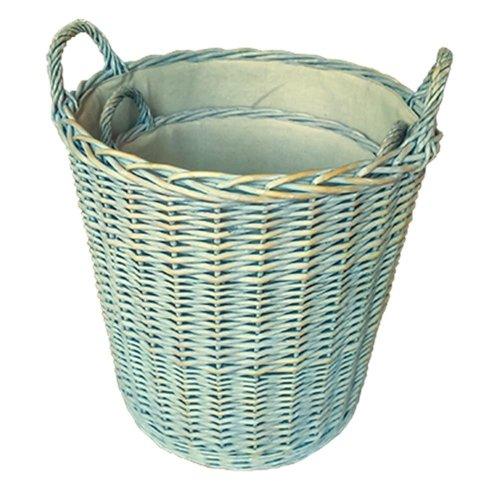 Set of 2 Heavy Duty Provence Lined Log Baskets