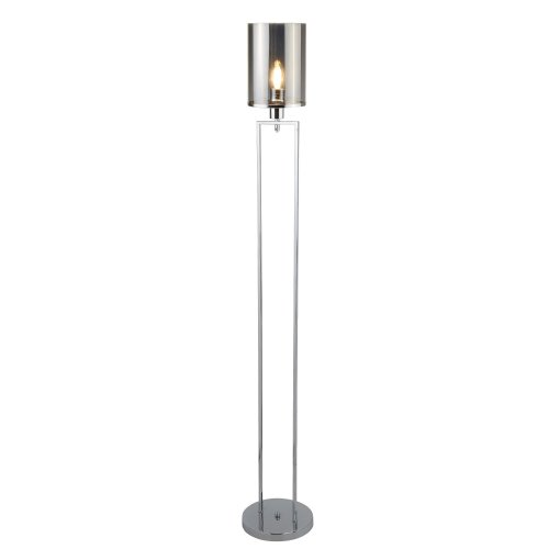 1 Light Floor Lamp Chrome Smoked Glass Shades