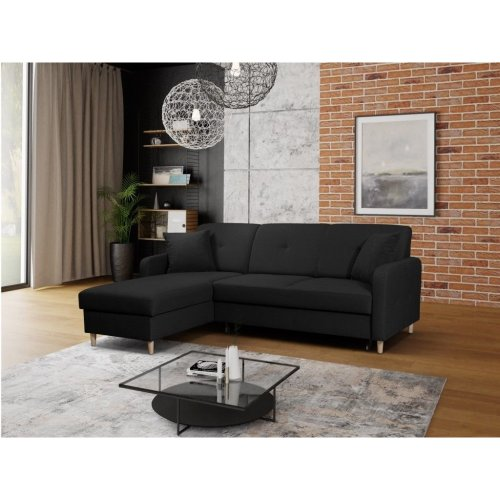 Left Corner Sofa Bed Malmo with Storage, Fabric in Black