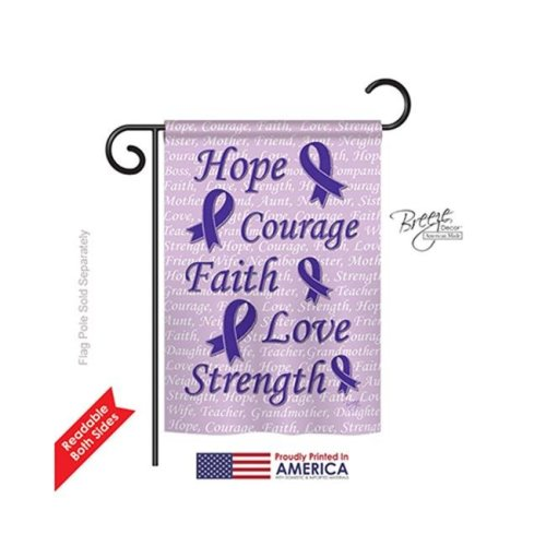 Breeze Decor 65091 Hope, Faith, Courage 2-Sided Impression Garden Flag, Purple - 13 x 18.5 in.